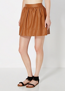 Cognac Faux Leather Mini Skirt