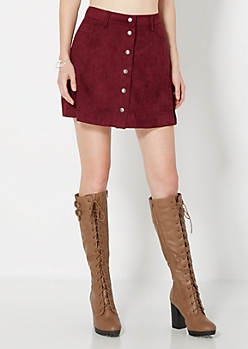 Burgundy Faux Suede Mini Skirt
