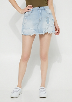 Denim Distressed Fraying Mini Skirt