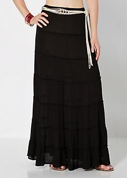 Black Prairie Girl Belted Maxi Skirt