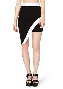 Black Asymmetric Color Block Skirt