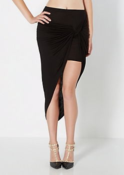 Black Knotted Wrap Skirt