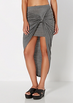 Charcoal Grey Knotted Wrap Skirt