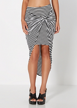 Striped & Knotted Wrap Skirt