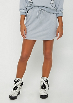 Heather Gray French Terry Dolphin Skirt