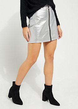 Silver Faux Leather Zip Front Mini Skirt