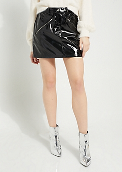 Black Liquid Faux Leather Mini Skirt