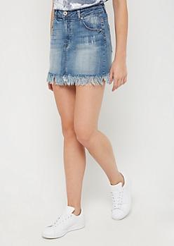 Cat Scratched Vintage Jean Skirt