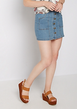 Washed Button Down Jean Skirt