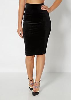 Velvet Knit Midi Skirt