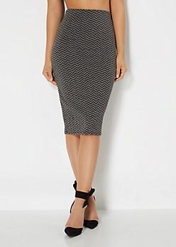 Charcoal Gray Chevron Skirt