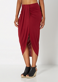 Burgundy Draped Midi Skirt