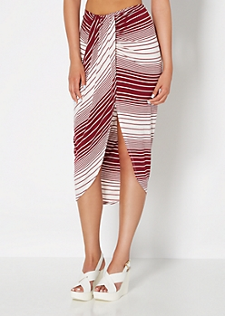 Burgundy Striped & Draped Midi Skirt