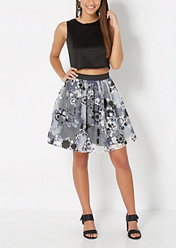 Floral Organza Gathered Skirt