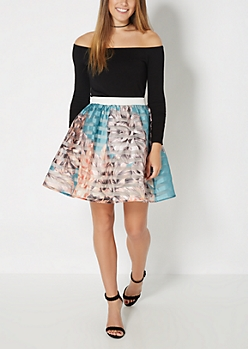 Turquoise Striped Floral Organza Skirt