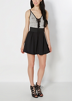 Black Pleated Scuba Mini Skirt