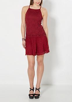 Burgundy Lace Skater Skirt