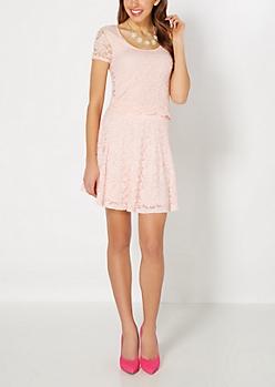 Pink Lace Skater Skirt