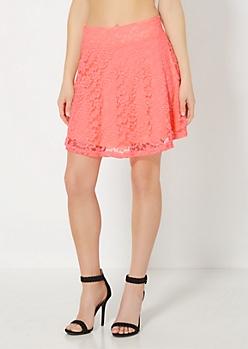 Neon Orange Lace Skater Skirt