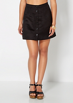 Black Microsuede Button Down Skirt