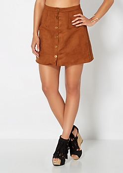 Cognac Microsuede Button Down Skirt