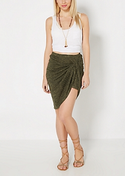 Olive Marled Ribbed Knotted Mini Skirt