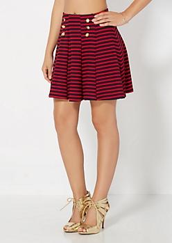 Red Nautical Skater Skirt