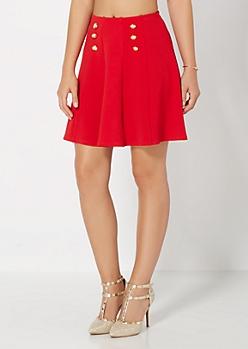 Red Crepe Nautical Skater Skirt