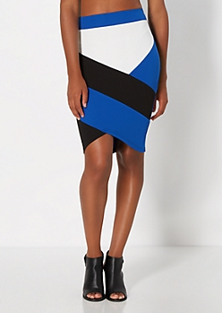 Blue Asymmetric Striped Skirt