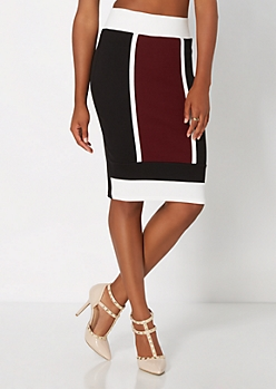 Burgundy Geo Striped Skirt