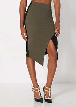 Olive Green Geo Cut Skirt