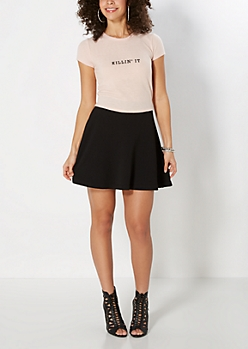 Black Textured Skater Skirt