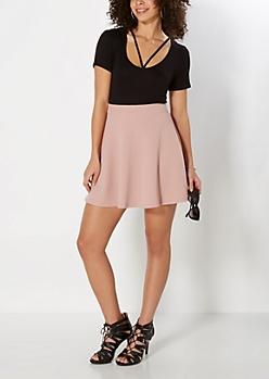 Dusted Pink Textured Skater Skirt
