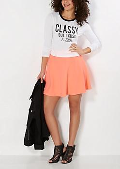 Neon Orange Textured Skater Skirt