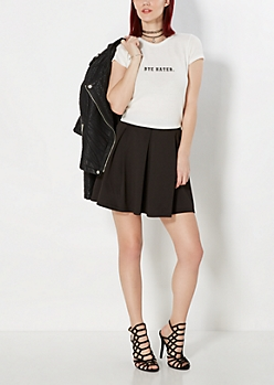 Black Pleated Scuba Skater Skirt