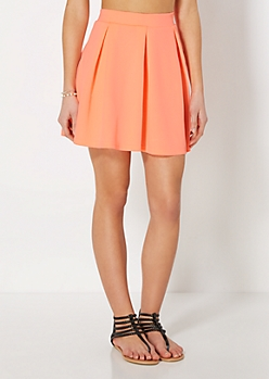 Neon Orange Pleated Scuba Skater Skirt