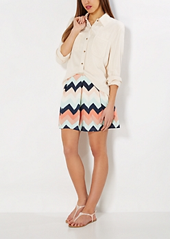 Pastel Chevron Pleated Skater Skirt