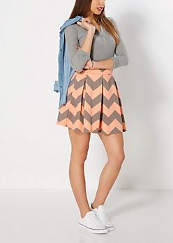 Coral Chevron Pleated Skater Skirt
