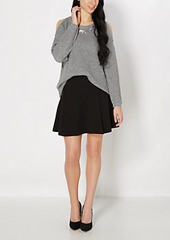 Black Paneled Skater Skirt