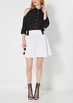 White Paneled Skater Skirt