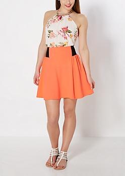 Neon Orange Paneled Skater Skirt