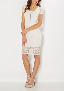 Ivory Scalloped Lace Midi Skirt