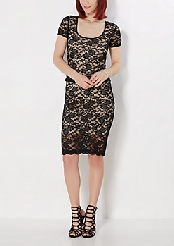 Black Scalloped Lace Midi Skirt