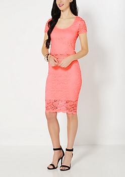 Neon Orange Scalloped Lace Midi Skirt