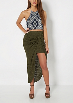 Olive Marled Ribbed Knotted Midi Skirt