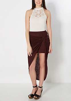 Burgundy Marled Ribbed Knotted Midi Skirt