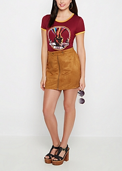 Cognac Suede Zip-Down Mini Skirt