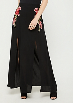 Floral Embroidered Front Slit Maxi Skirt