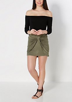 Olive Knotted Mini Skirt