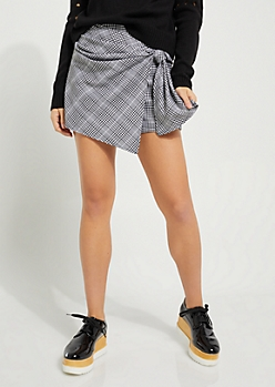Plaid Tie-Front Mini Skort